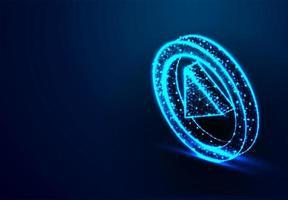 botão de reprodução. brilhar fundo azul. vetor