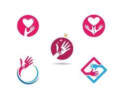 conjunto de logotipo de cuidados de mão vetor