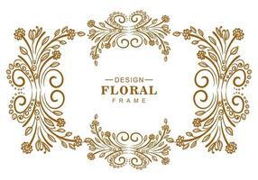 lindo design floral dourado decorativo moldura vetor