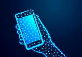 telefone celular com tela de toque na mão design abstrato
