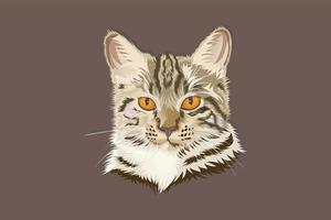 cabeça de gato estilo realista desenho à mão vetor