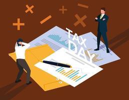 empresários no dia do imposto com documentos estatísticos vetor