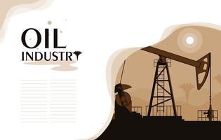 cena da indústria de petróleo com torre vetor