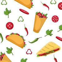 design de padrão de comida mexicana vetor