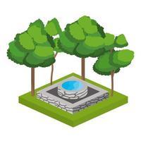 árvores isométricas e projeto de fonte de água vetor