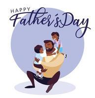 cartão de feliz dia do pai com pai e filhos vetor