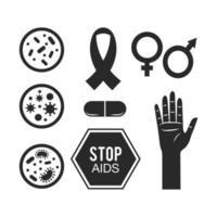 conjunto de tratamento de suporte médico para aids vetor