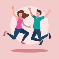 jovem casal comemorando com as mãos ao alto vetor