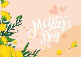 cartão de feliz dia das mães com decoração de flores vetor