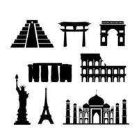 Conjunto de ícones de silhueta de pontos turísticos vetor