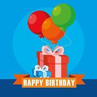 cartão de feliz aniversário com caixas de presentes e balões de hélio