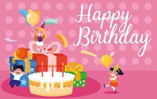 cartão de aniversário com crianças comemorando vetor