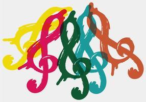 Chave colorida de violino vetor