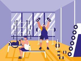 homens levantando peso em ícone de academia vetor