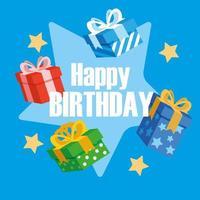 cartão de feliz aniversário com caixas de presentes
