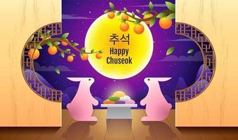 desenho de chuseok feliz com coelhos e bolos lunares vetor