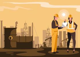 cenário da indústria de petróleo com oleoduto e trabalhadores vetor