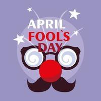 Dia da Mentira com acessórios para rosto maluco vetor