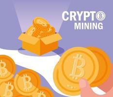 ícones de bitcoin de mineração de criptografia vetor