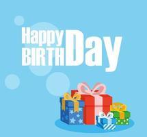 cartão de feliz aniversário com caixas de presentes vetor