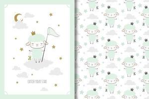 princesa ovelha com desenho e padrão de rede de borboletas vetor
