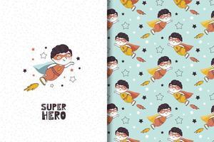 desenho animado menino super-herói personagem fofo e padrão vetor