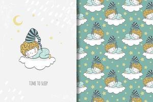 menino de pijama dormindo na nuvem, desenho e padrão vetor