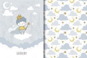 menino príncipe dourado e padrão de nuvens e lua vetor