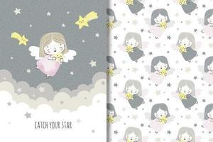 anjinho com padrão de estrelas cadentes e desenho