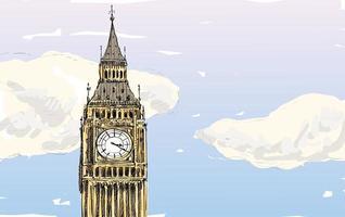 esboço colorido do big ben, torre de londres vetor