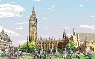esboço colorido da paisagem urbana de Londres vetor