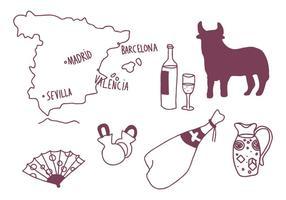 Conjunto de desenhos espanhóis vetor