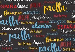 Padrão de palavras espanholas vetor