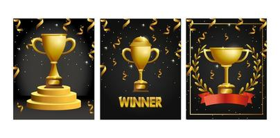 cartão comemorativo com troféus de ouro vetor