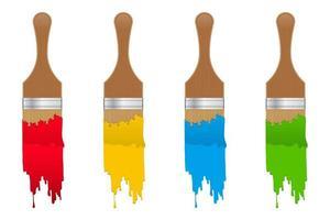 jogo de escova de pintura vetor
