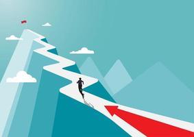 empresário correndo para a bandeira do sucesso