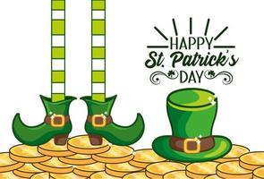 st. banner do dia patrick com chapéu irlandês e botas vetor