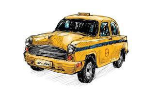 esboço colorido de um velho táxi vetor