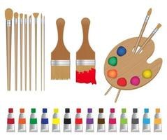 conjunto de ícones de materiais de pintura e arte vetor