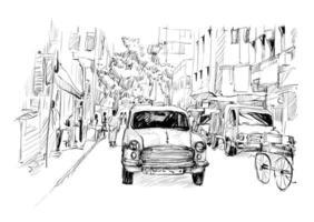 esboço de um táxi em uma paisagem urbana vetor
