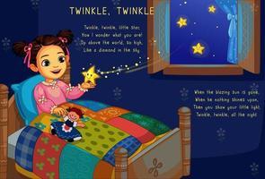 menina bonitinha na cama com estrela cintilante vetor