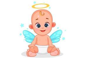 bebê anjo fofo com bela expressão vetor