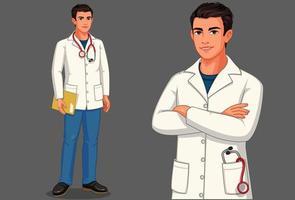 jovem médico com estetoscópio vetor