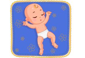 bebê fofo dormindo no colchonete vetor