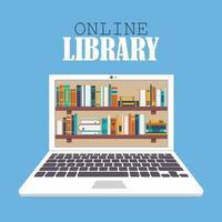 biblioteca online e conceito de educação vetor