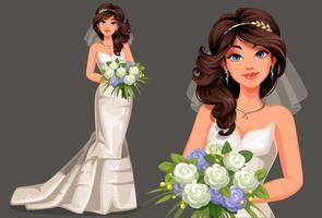 linda noiva em um vestido de noiva branco vetor