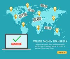 transferência de dinheiro online e transação de banco eletrônico