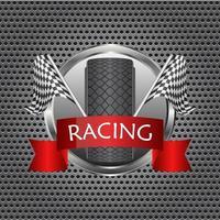corrida de bandeiras quadriculadas com faixa de pneus vetor