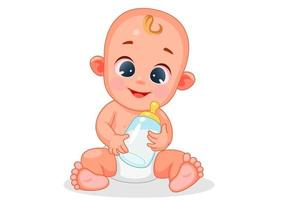 bebê fofo e feliz segurando mamadeira vetor