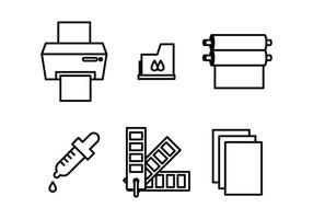 Ícones de material de impressão vetor